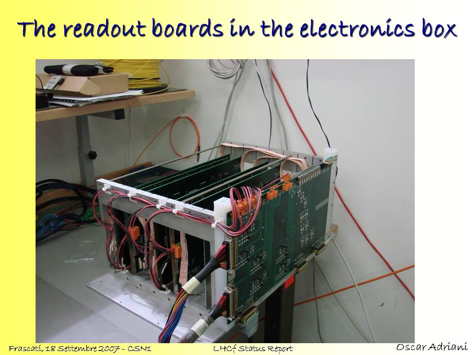 The readout boards in the electronics box