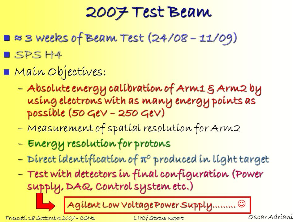 2007 Test Beam  3 weeks of Beam Test (24/08 – 11/09) SPS H4
