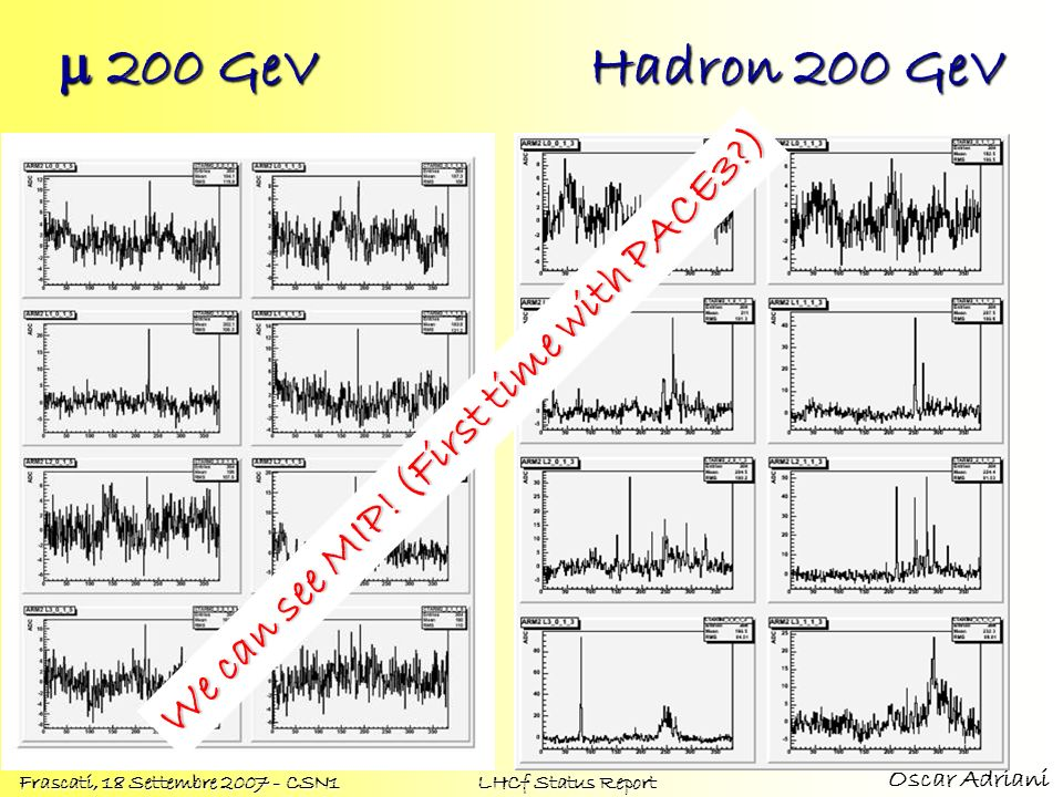 m 200 GeV Hadron 200 GeV We can see MIP! (First time with PACE3 )