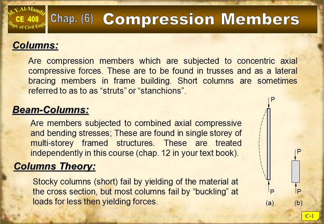 Chap. (6) Compression Members Columns: Beam-Columns: Columns Theory: