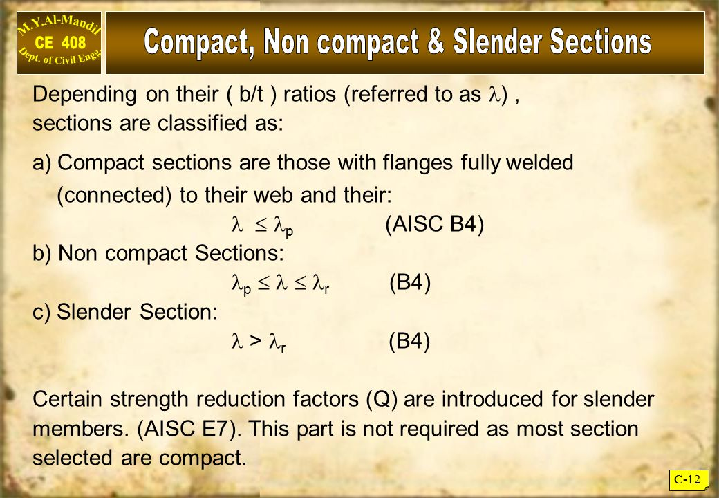 Compact, Non compact & Slender Sections