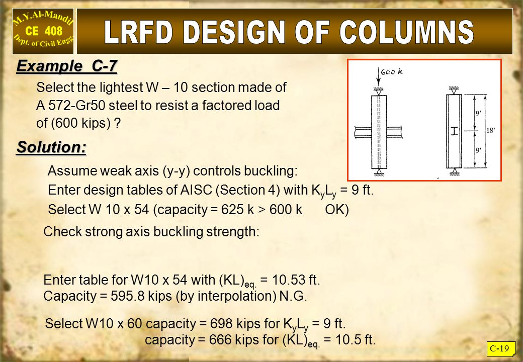 LRFD DESIGN OF COLUMNS Example C-7 Solution: