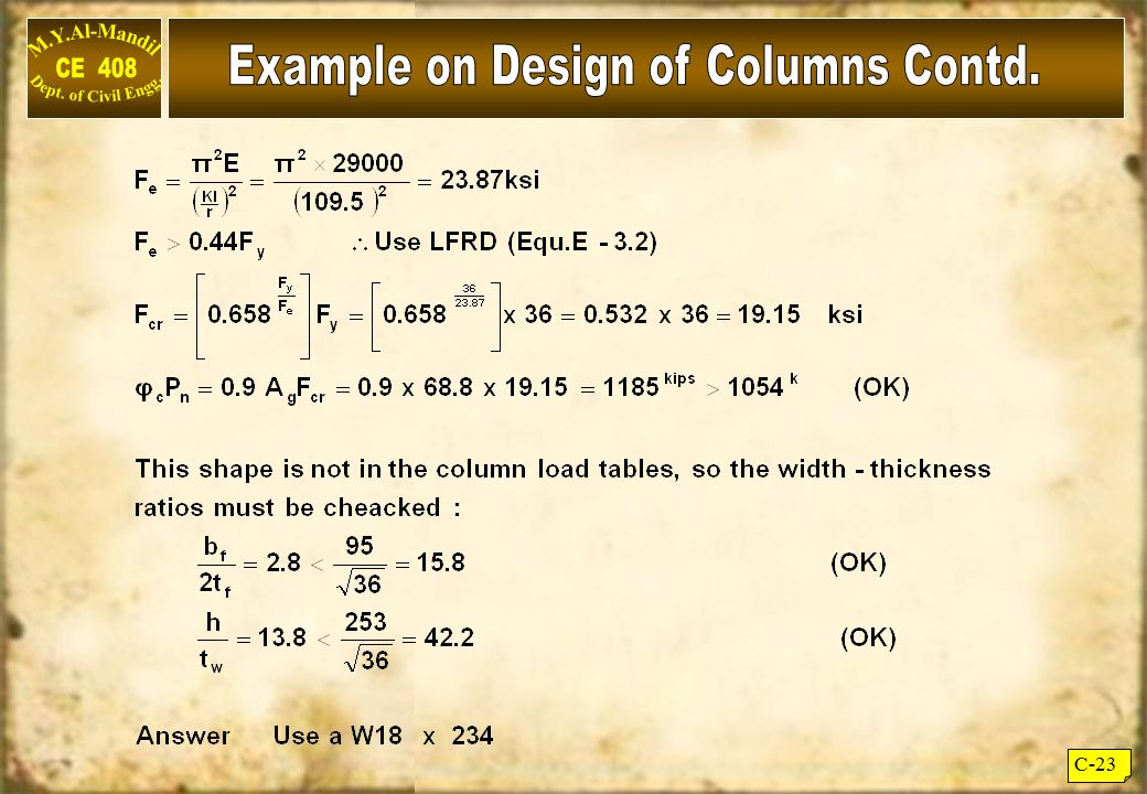 Example on Design of Columns Contd.