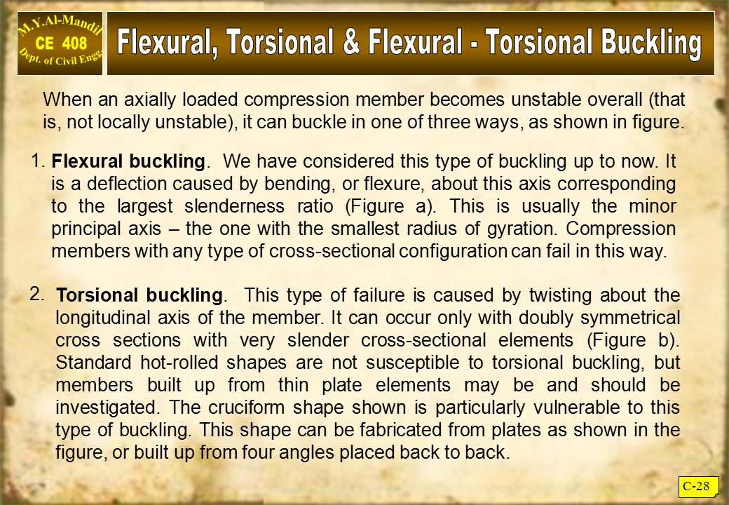 Flexural, Torsional & Flexural - Torsional Buckling