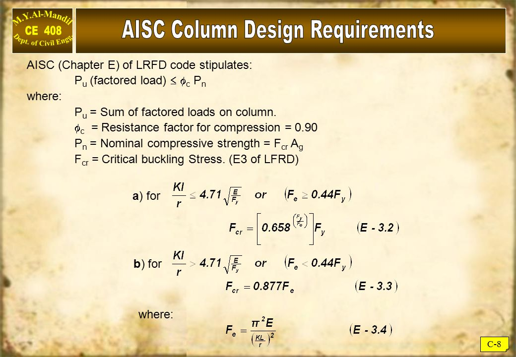 AISC Column Design Requirements