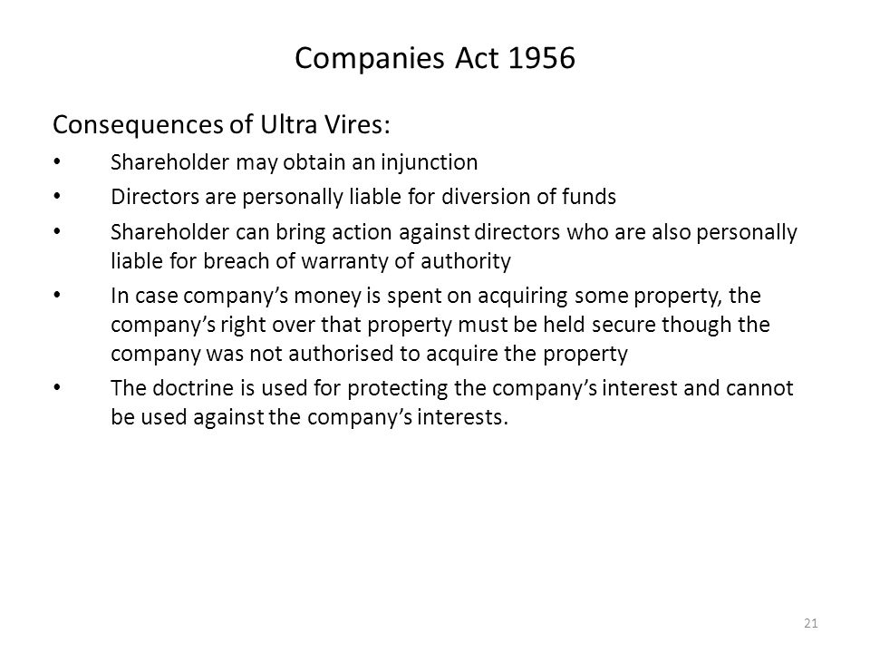 doctrine of ultra vires in public That is a matter of right in a case of ultra vires action by the public authority, and   not legislate to prevent individuals from doing so: it is a principle not by any.
