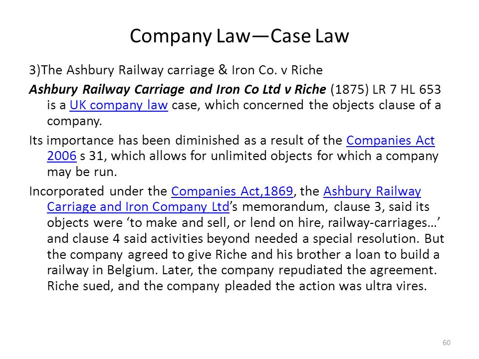 ashbury railway carriage iron ltd co vs richie 614, (high court of australia) ashbury railway carriage and iron co v riche ( 1875) lr  battle v irish art promotion centre ltd [1968] ir 252 bell v lever  bros ltd  great north of england railway company v biddulph 7 m & w 243.
