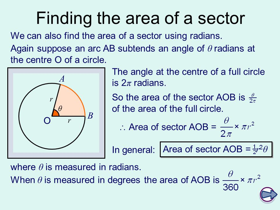 C2 arcs sectors and segments ppt video online download finding the area of a sector ccuart Gallery