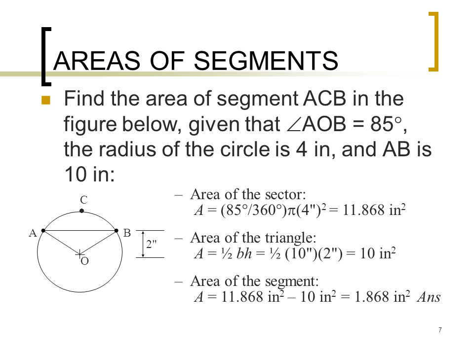 Areas of circles sectors segments and ellipses ppt video 7 areas of segments find ccuart Gallery
