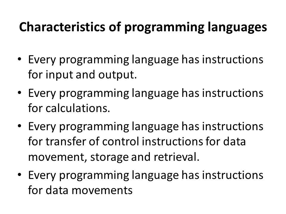Characteristics of programming languages