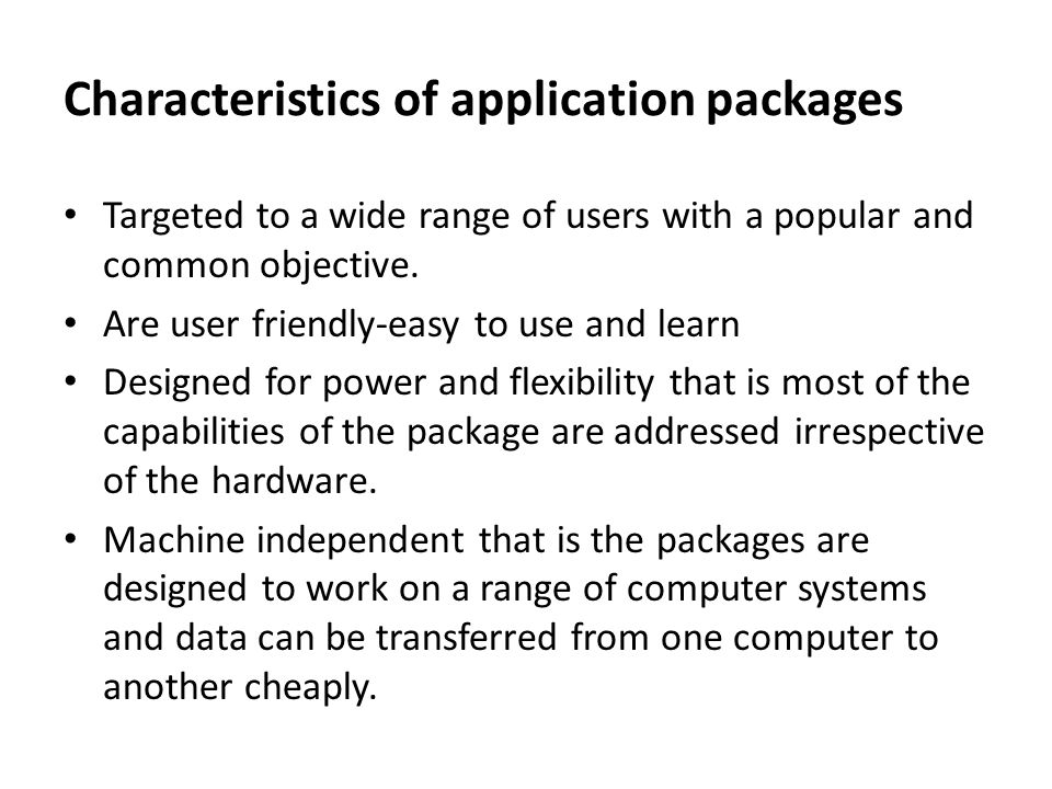 Characteristics of application packages