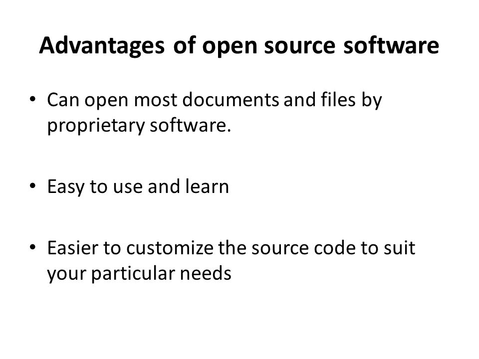 Advantages of open source software