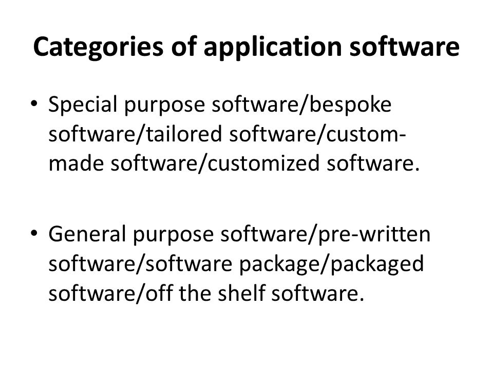 Categories of application software