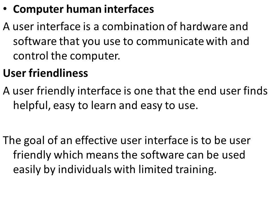 Computer human interfaces