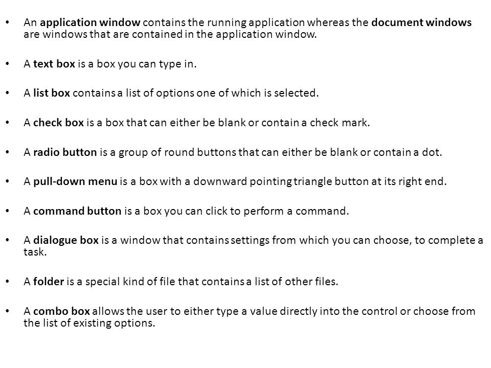 An application window contains the running application whereas the document windows are windows that are contained in the application window.