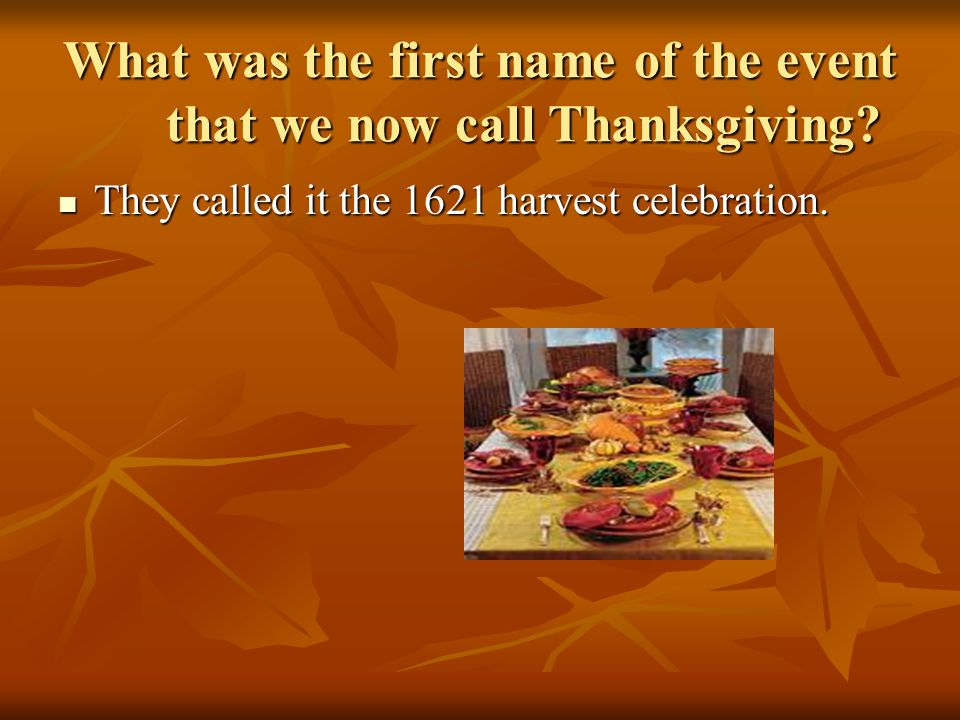 Thanksgiving holiday project part 2 ppt video online for What did they eat at the first thanksgiving
