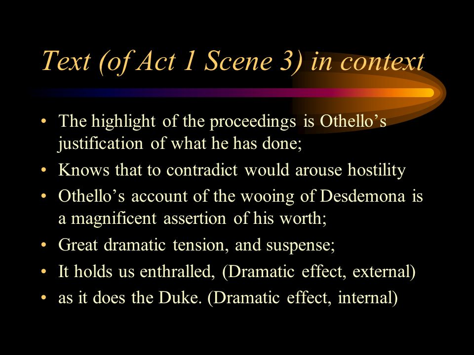 A presentation of the first manipulation scene in the play othello