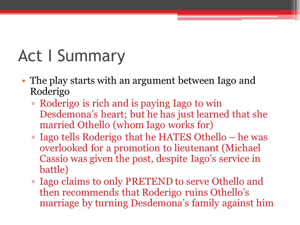 a synopsis of the play othello by william shakespeare Plot summary of and introduction to william shakespeare's play othello, with links to online texts, digital images, and other resources.
