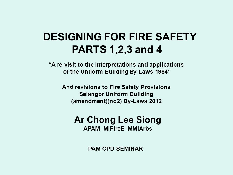 DESIGNING FOR FIRE SAFETY PARTS 1,2,3 and 4