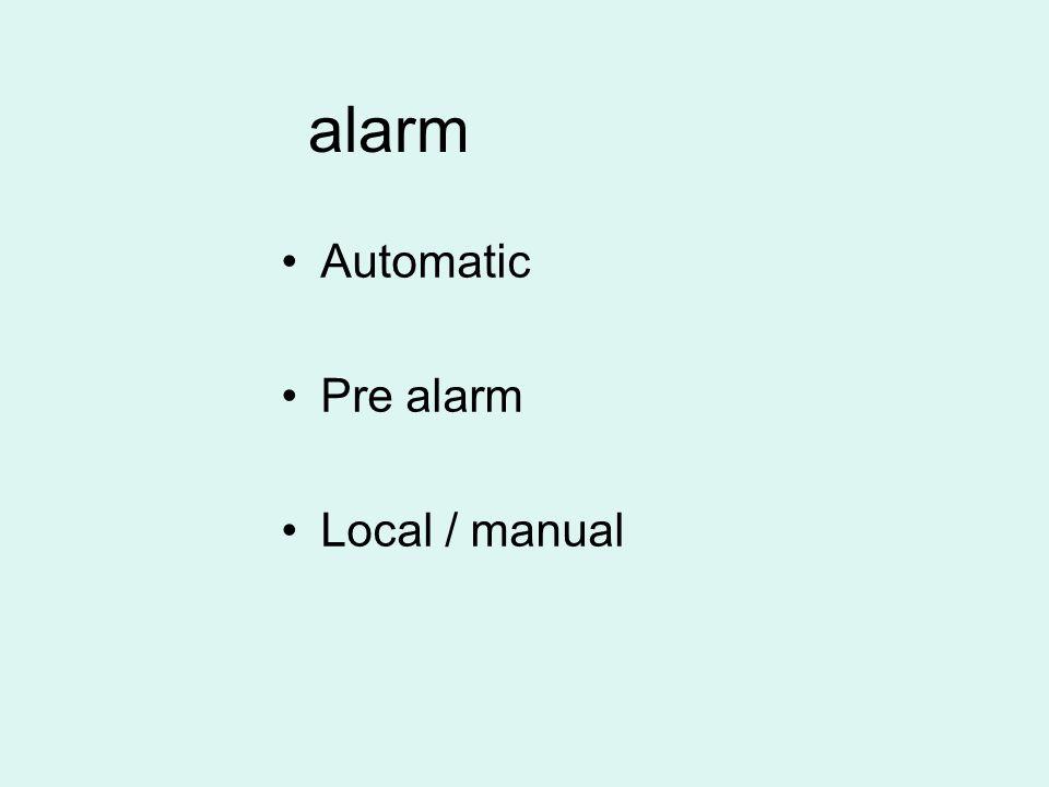 alarm Automatic Pre alarm Local / manual
