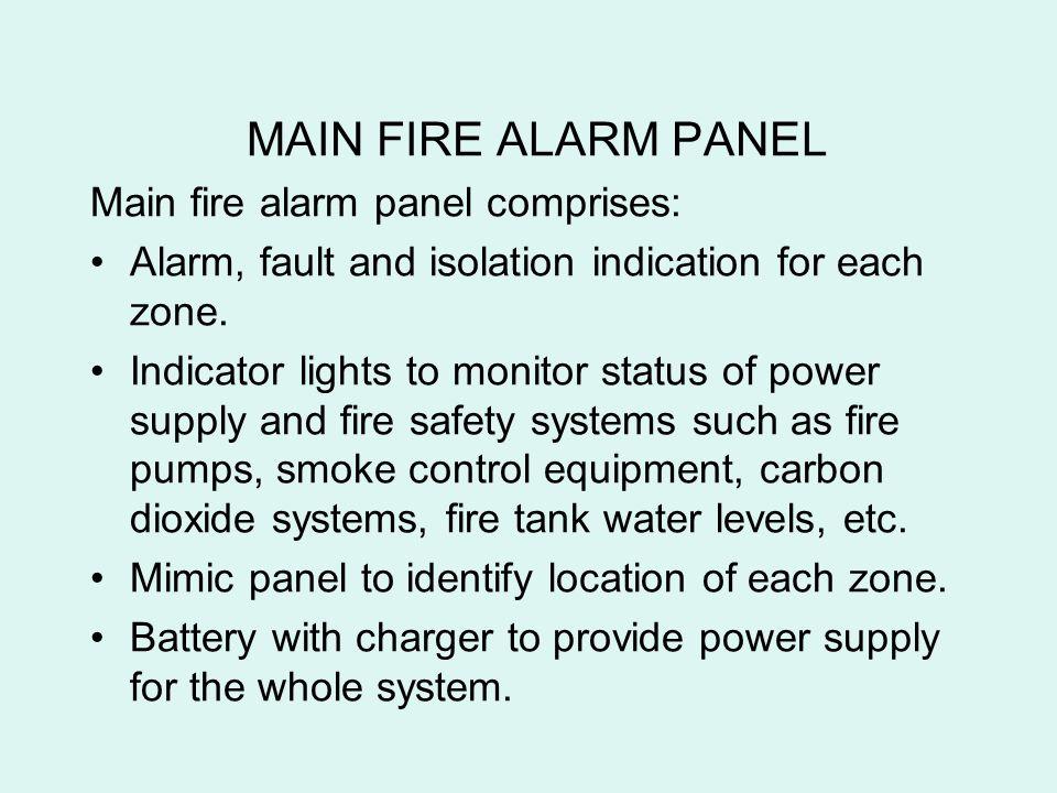 MAIN FIRE ALARM PANEL Main fire alarm panel comprises: