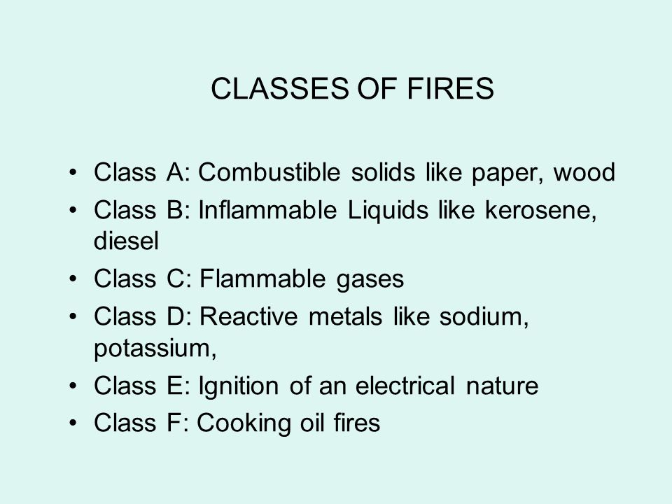 CLASSES OF FIRES Class A: Combustible solids like paper, wood