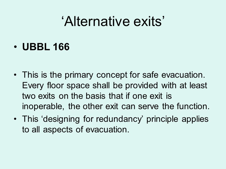 'Alternative exits' UBBL 166