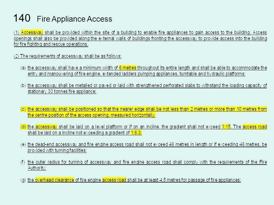 140 Fire Appliance Access