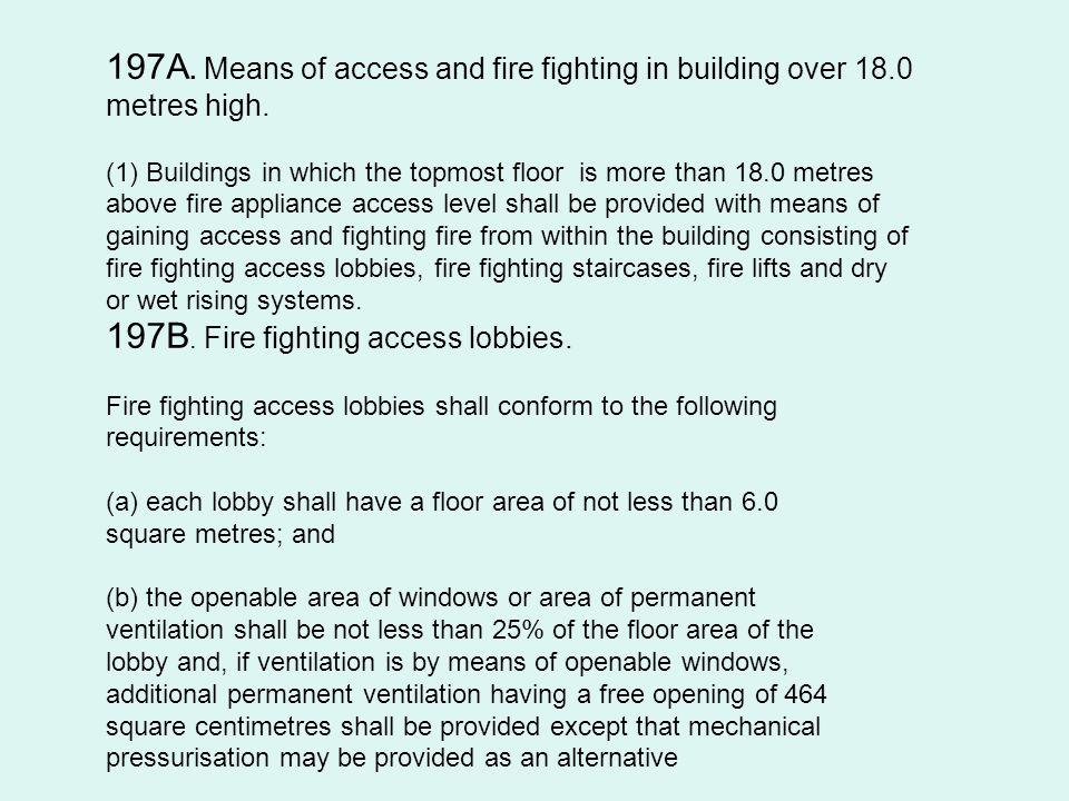 197B. Fire fighting access lobbies.