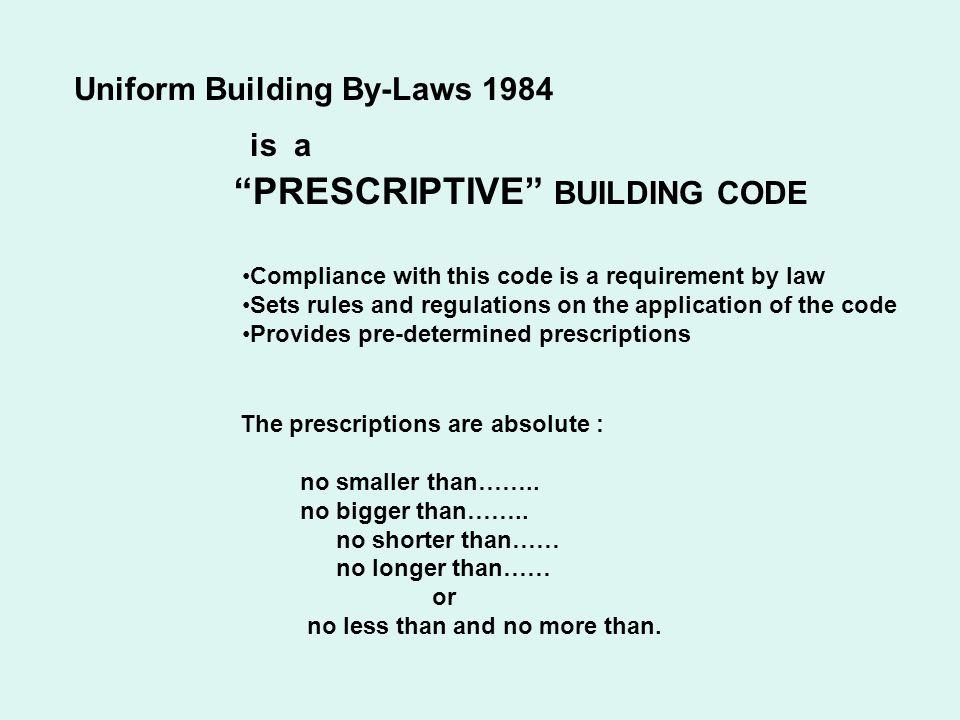 PRESCRIPTIVE BUILDING CODE