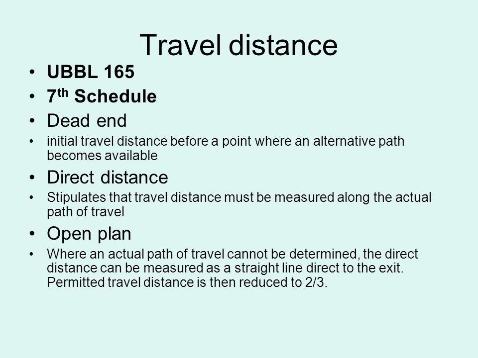 Travel distance UBBL 165 7th Schedule Dead end Direct distance