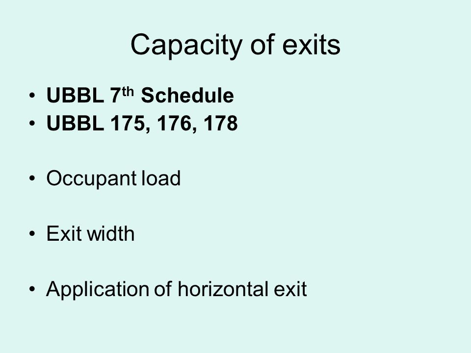 Capacity of exits UBBL 7th Schedule UBBL 175, 176, 178 Occupant load