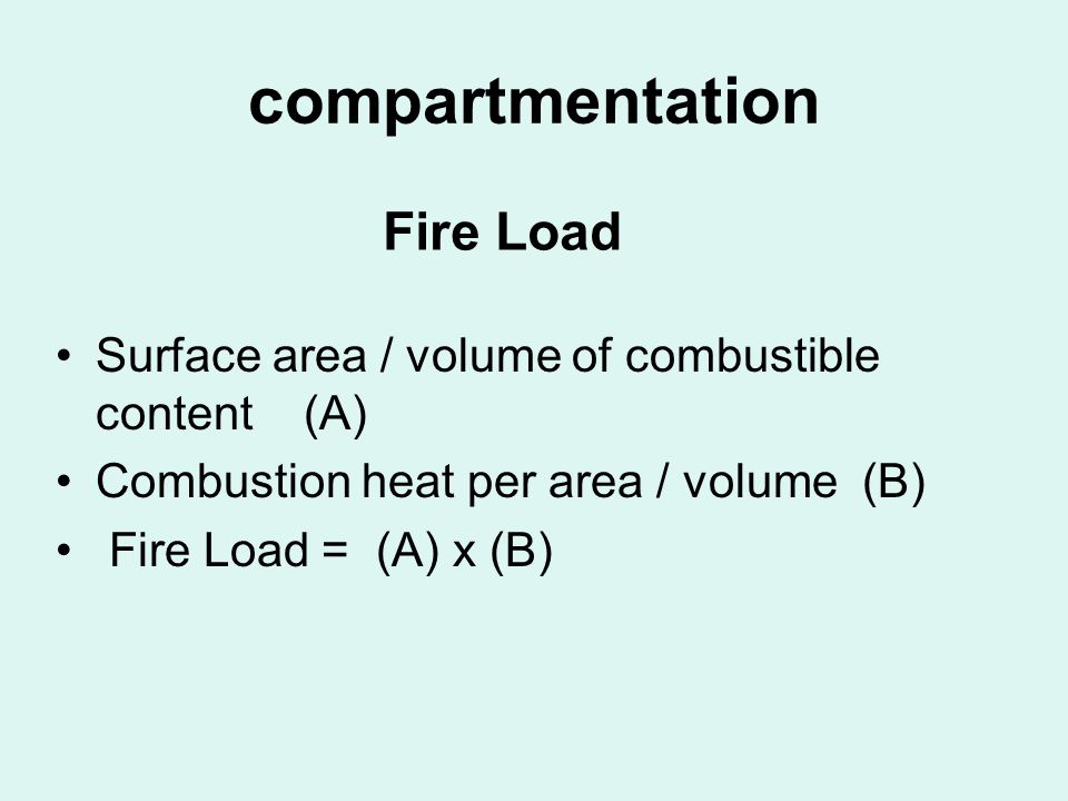 compartmentation Fire Load