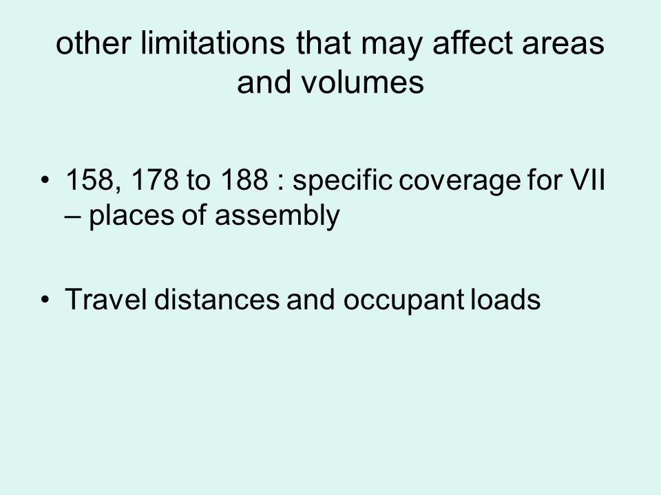 other limitations that may affect areas and volumes