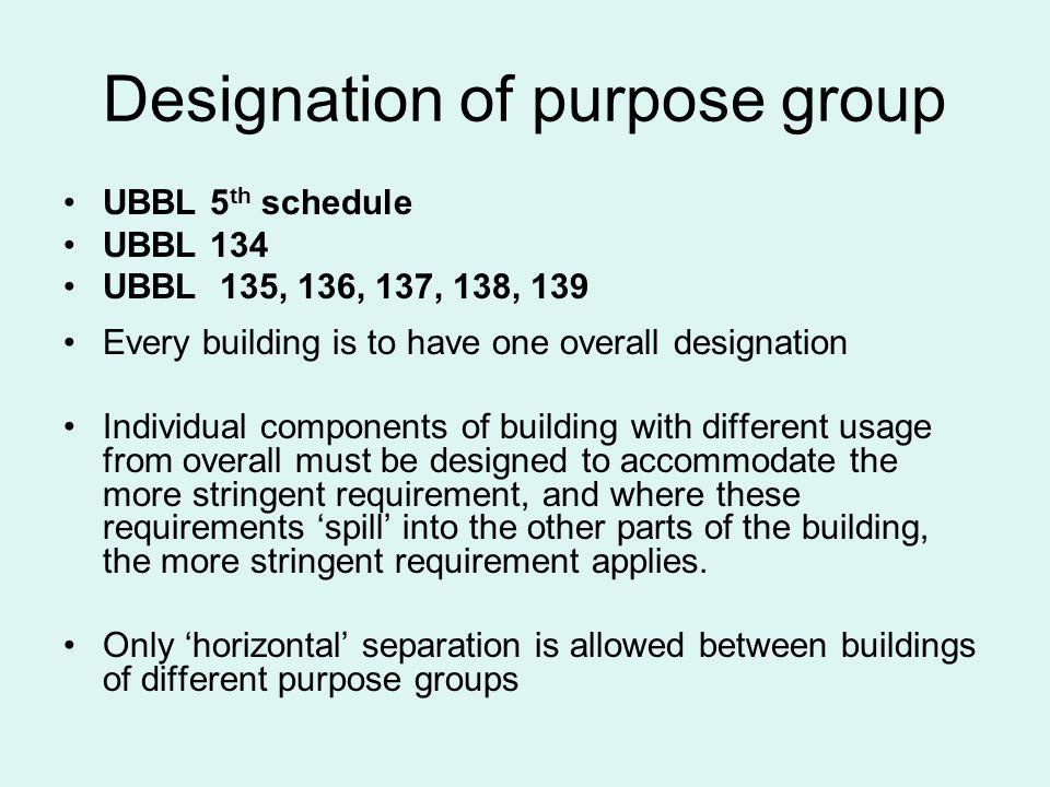 Designation of purpose group