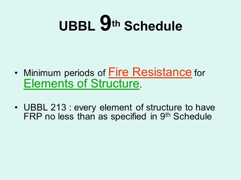UBBL 9th Schedule Minimum periods of Fire Resistance for Elements of Structure.