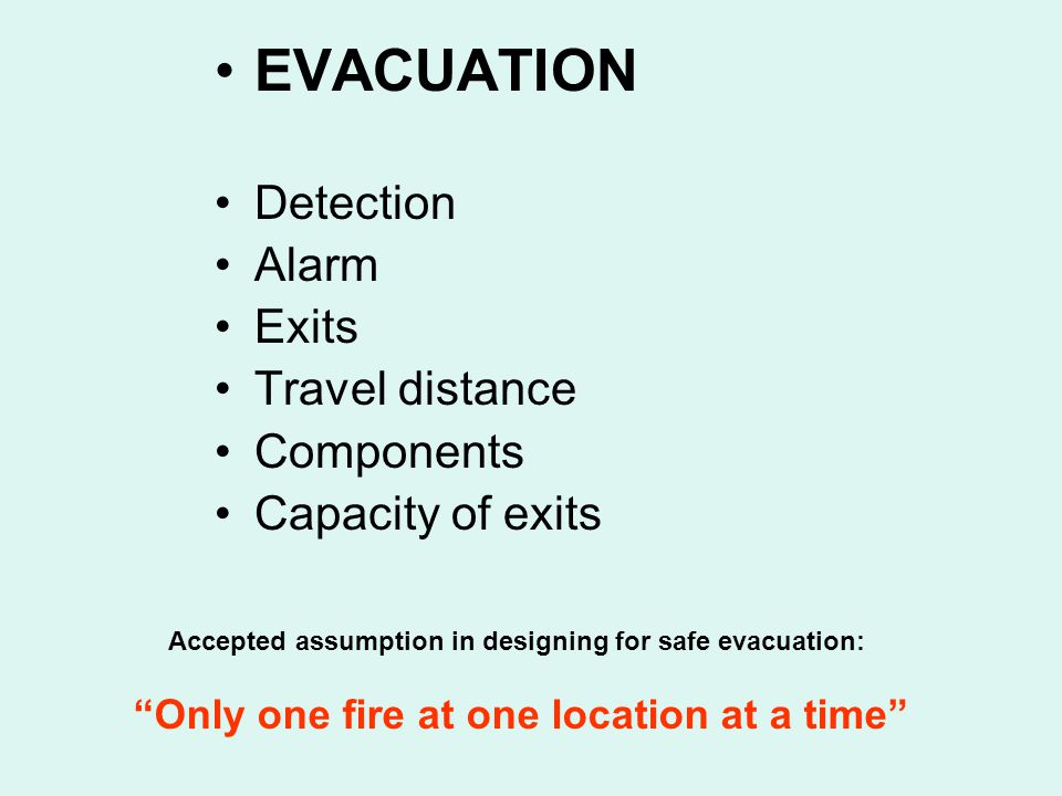 EVACUATION Detection Alarm Exits Travel distance Components