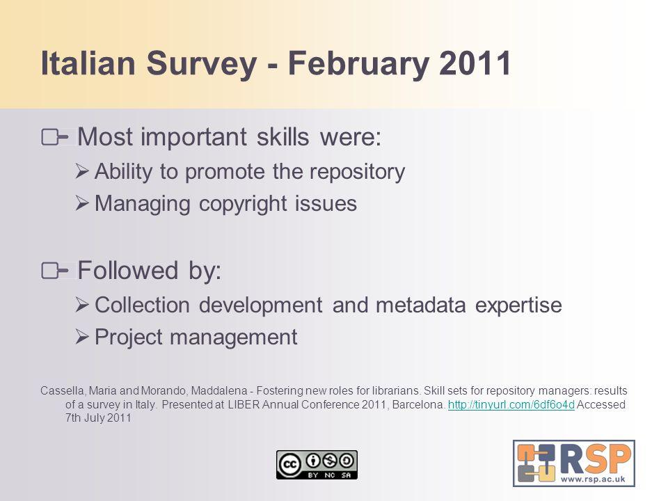Italian Survey - February 2011