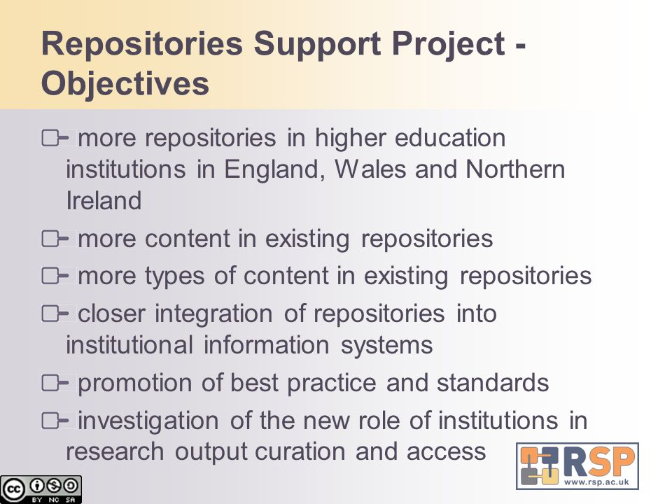 Repositories Support Project - Objectives