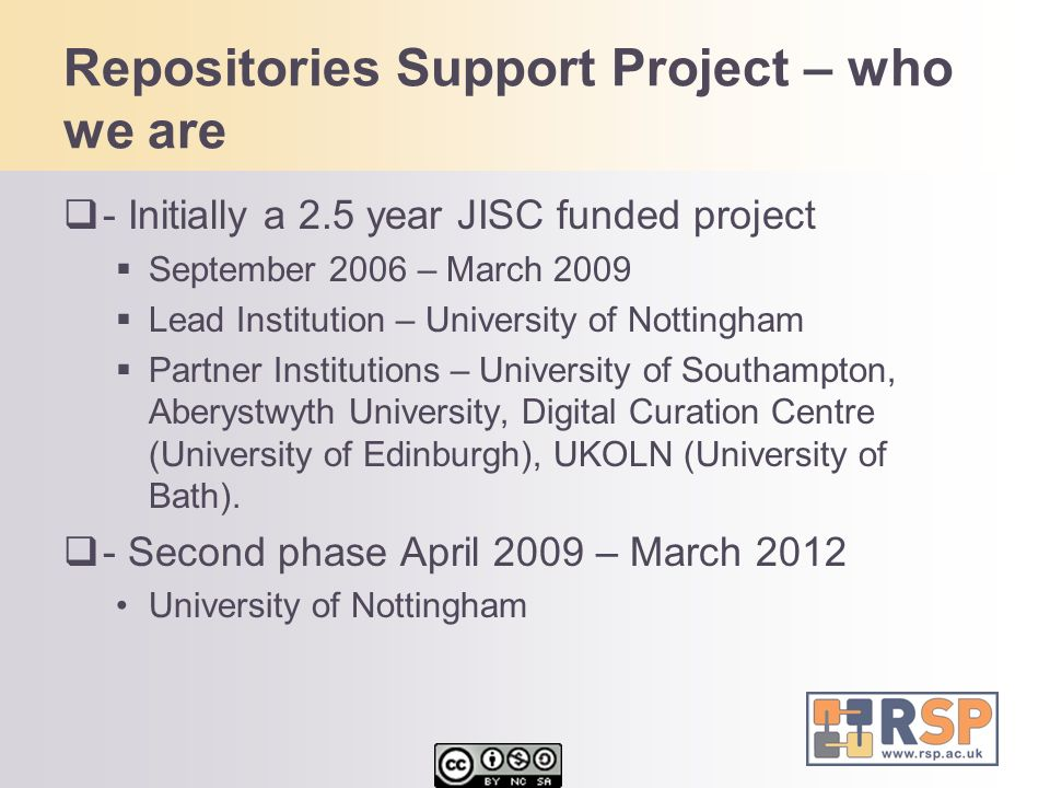 Repositories Support Project – who we are