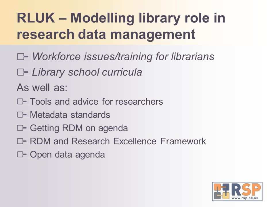 RLUK – Modelling library role in research data management