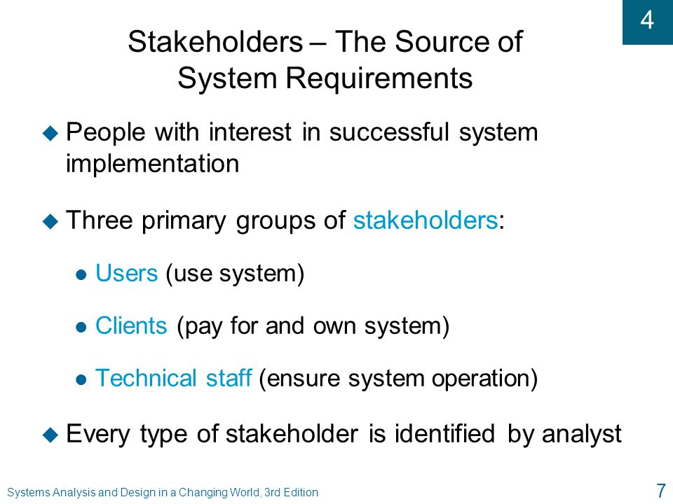 Stakeholders – The Source of System Requirements
