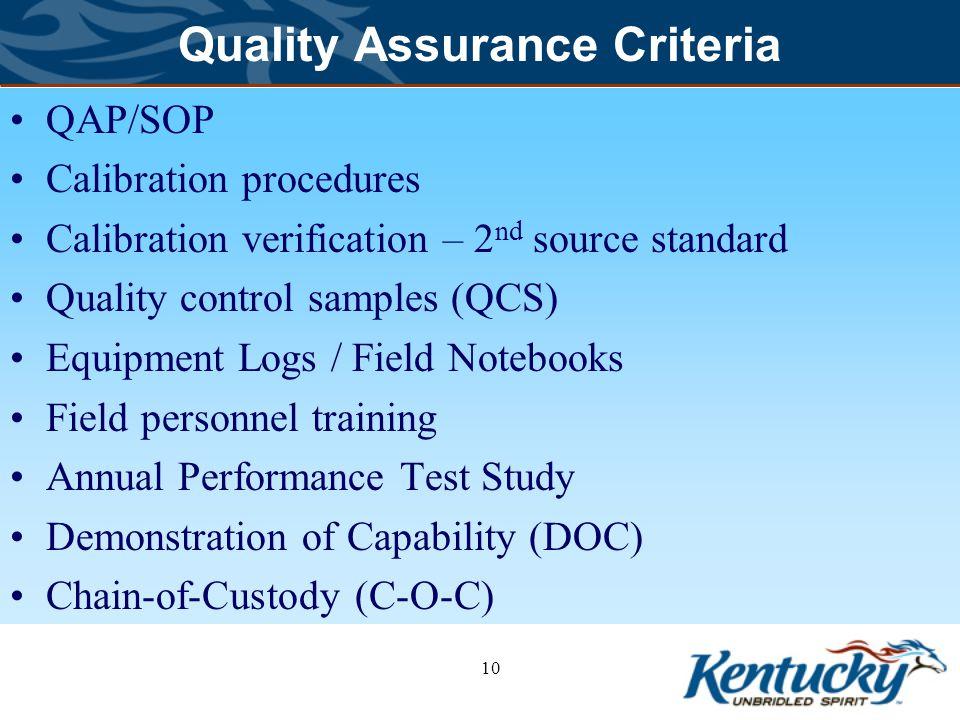 Quality Assurance Criteria