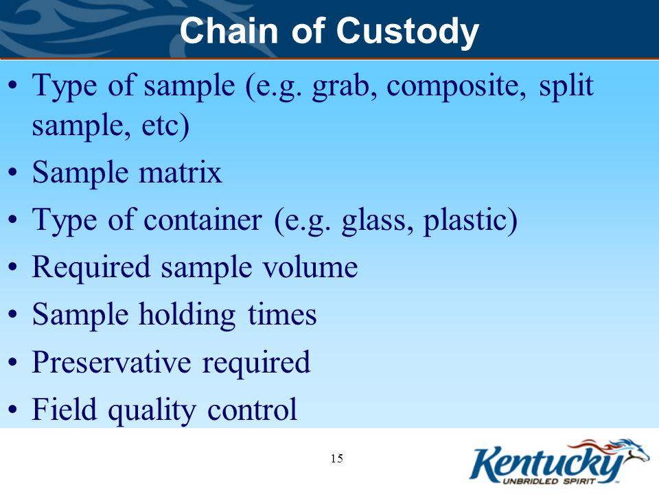 Chain of Custody Type of sample (e.g. grab, composite, split sample, etc) Sample matrix. Type of container (e.g. glass, plastic)