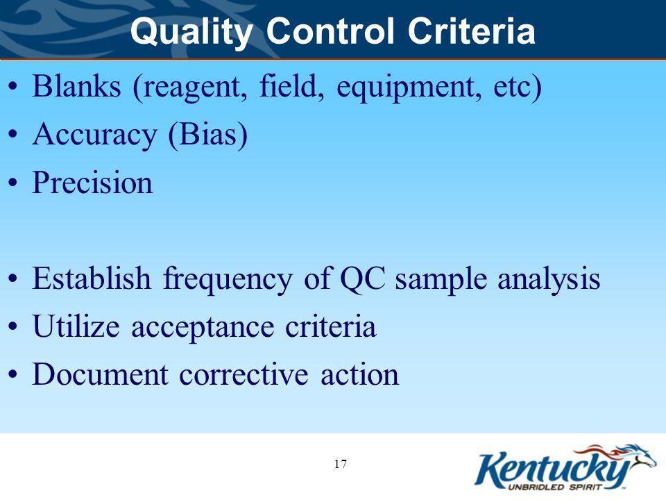 Quality Control Criteria