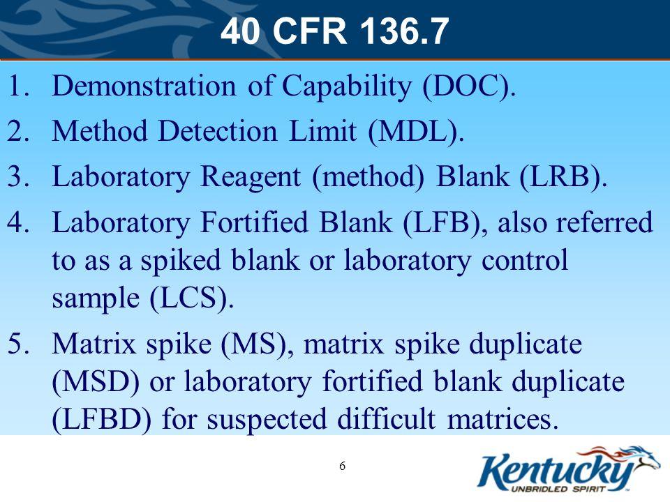 40 CFR 136.7 Demonstration of Capability (DOC).