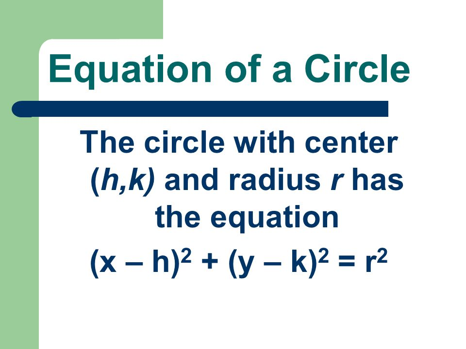 The circle with center (h,k) and radius r has the equation