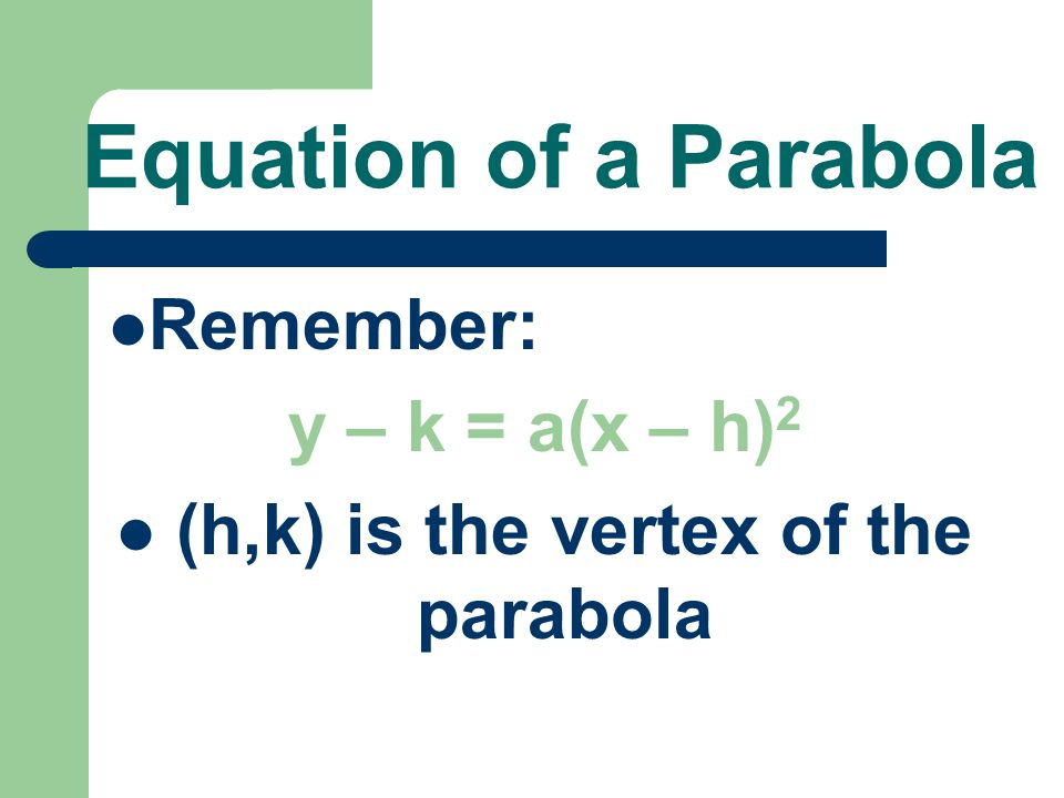 (h,k) is the vertex of the parabola