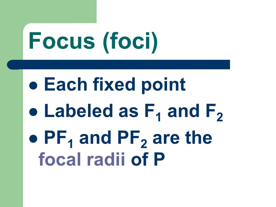 Focus (foci) Each fixed point Labeled as F1 and F2