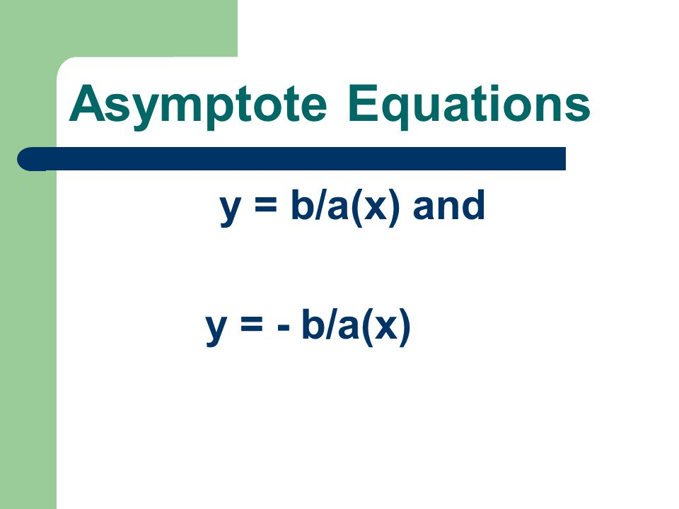 Asymptote Equations y = b/a(x) and y = - b/a(x)